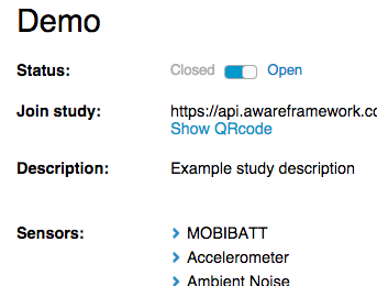 Demo study sensors
